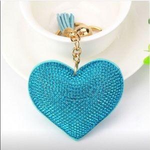🥳 Sale! TURQUOISE Pavé Heart KEY Fob Charm